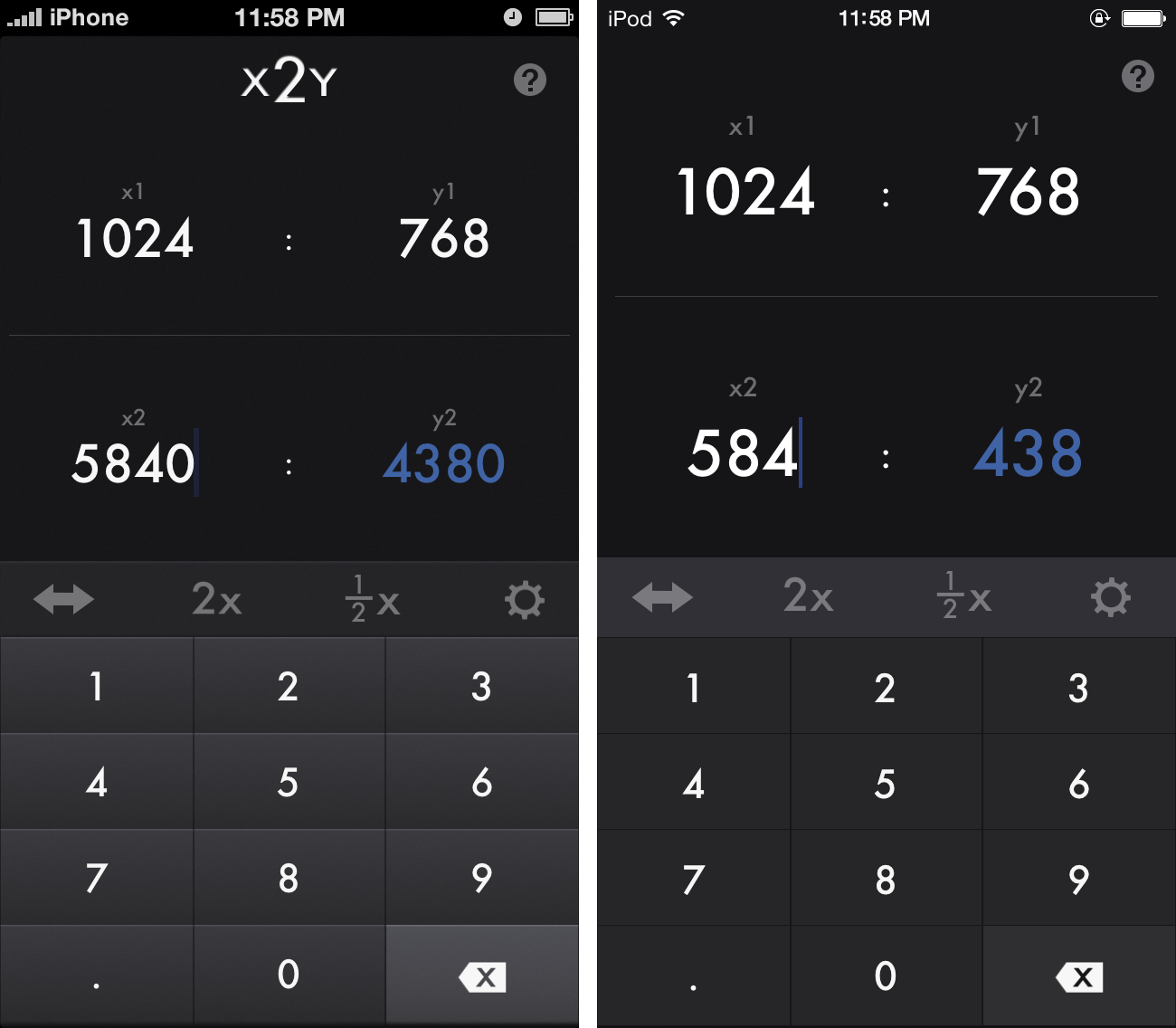 x2y in its current form on the Left. Proposed redesign for iOS 7on the right.
