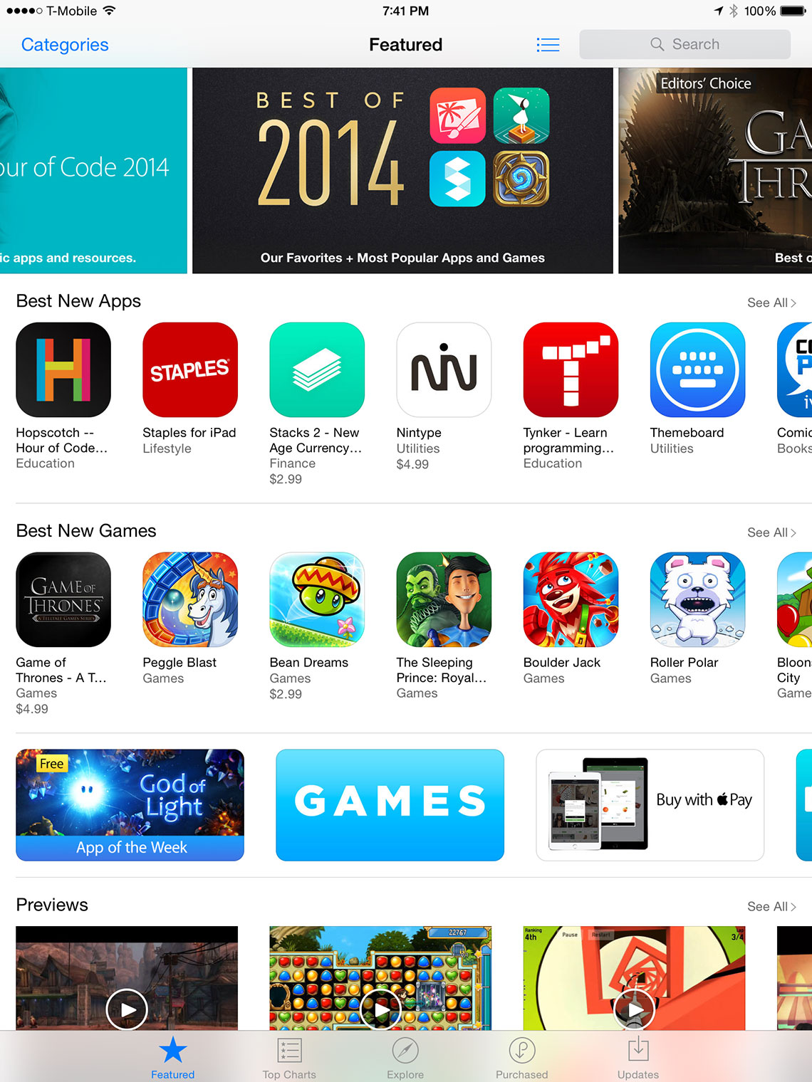 The Featured Tab of the App Store on iPad