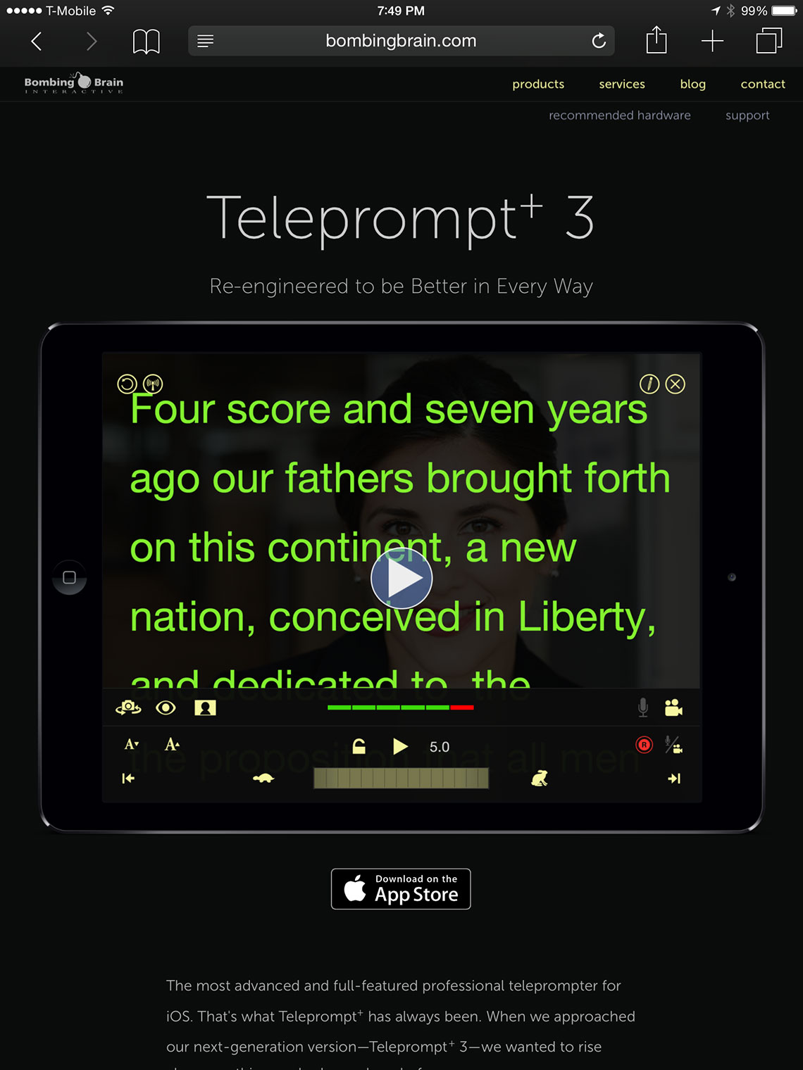 Web site for Teleprompt+